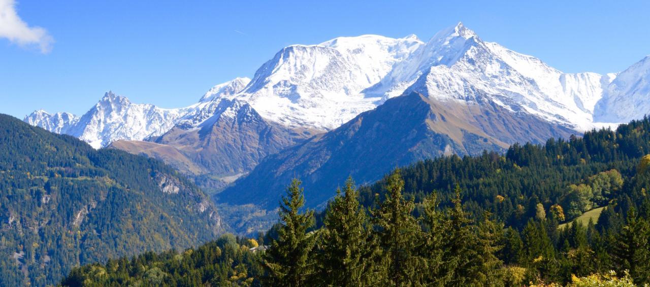 Vue panoramique sur la chaine du Mont-Blanc.