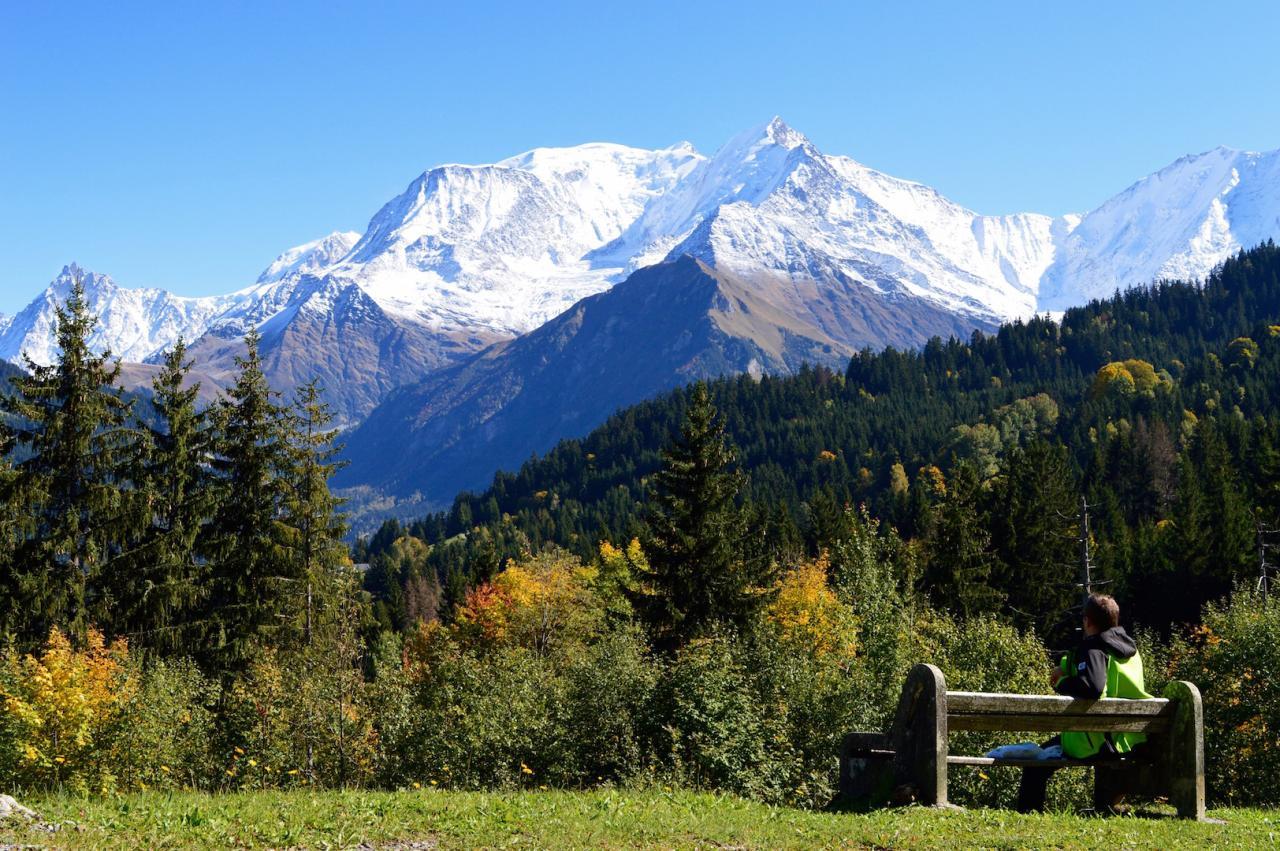 Seul sur un banc face au Mont Blanc une vue époustouflante !